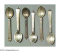 Silver Flatware, Continental:Flatware, TWELVE DANISH SILVER PYRAMID PATTERN SPOONS