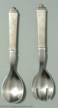 Silver Flatware, Continental:Flatware, A PAIR OF DANISH SILVER PYRAMID PATTERN SERVING SERVERS