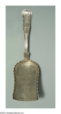 Silver & Vertu:Flatware, AN UNUSUAL AMERICAN SILVER KINGS PATTERN SCOOP. Mark of R.W. Wilson, Philadelphia, c.1850. The handle with shell and scrol...