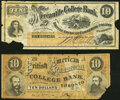Obsoletes By State:Wyoming, Toronto, Canada West- British American Commercial College Bank $10 ND (ca. 1870-80) Schingoethe ON-600-10.A Good;. Tor... (Total: 2 notes)
