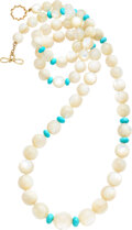 Estate Jewelry:Necklaces, Valentin Magro Mother-of-Pearl, Turquoise, Gold Necklace