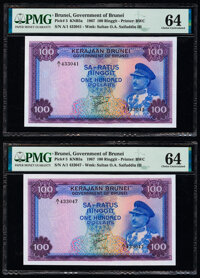 Brunei Government of Brunei 100 Ringgit 1967 Pick 5 KNB5a Two Examples PMG Choice Uncirculated 64 (2). ... (Total: 2 not...