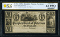 Obsoletes By State:New Jersey, Paterson, NJ- Peoples' Bank of Paterson $6 18__ G40 Remainder PCGS Banknote Choice Unc 63PPQ.. ...