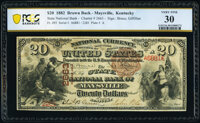 Maysville, KY - $20 1882 Brown Back Fr. 493 The State National Bank Ch. # 2663 PCGS Banknote Very Fine