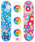 Collectible, Takashi Murakami X ComplexCon. Multi Flower 8.0 (set of 3), 2017. Screenprints in colors on skate decks. 32 x 8 inches (... (Total: 3 Items)