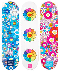 Takashi Murakami X ComplexCon Multi Flower 8.0 (set of 3), 2017 Screenprints in colors on skate decks 32 x 8 inches (...