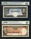World Currency, Australia Commonwealth of Australia Reserve Bank 5; 10 Pounds ND (1960-65); ND (1954-59) Pick 35a; 32 Two Examples PMG Cho... (Total: 2 notes)