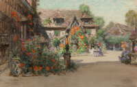Francis Hopkinson Smith (American, 1838-1915) The Inn of Will Gouache, watercolor and charcoal on pa