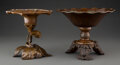 Metalwork, Two Japanese Bronze Usubata Vases, Taisho-Showa Period. Marks to larger: Oka. 8-3/8 x 10-7/8 inches (21.3 x 27.6 cm) (larger... (Total: 2 Items)