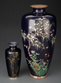 Ceramics & Porcelain, Two Japanese Cloisonné Vases, 20th century. Marks: (various). 12 x 5-1/2 x 5-1/2 inches (30.5 x 14.0 x 14.0 cm) (taller). ... (Total: 2 Items)