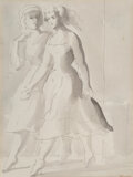 Works on Paper, Reginald Marsh (American, 1898-1954). Two women walking. Ink and wash on wove paper. 9-3/4 x 7-1/4 inches (24.8 x 18.4 c...