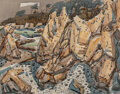 Paintings, Phil Dike (American, 1906-1990). Rocky Cliffs. Watercolor and pencil on paper. 22 x 28 inches (55.9 x 71.1 cm) (sheet). ...