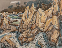 Phil Dike (American, 1906-1990) Rocky Cliffs Watercolor and pencil on paper 22 x 28 inches (55.9