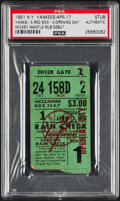 Baseball Collectibles:Tickets, 1951 Mickey Mantle Debut New York Yankees Opening Day Ticket Stub, PSA Authentic....