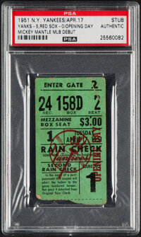 1951 Mickey Mantle Debut New York Yankees Opening Day Ticket Stub, PSA Authentic
