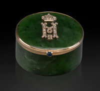 A Nephrite, 14K Gold, Diamond and Sapphire-Mounted Box in the Manner of Fabergé, late 20th century 1 x 2 x 2 inch...