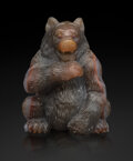 Decorative Accessories, A Carved Agate Ruby-Mounted Bear in the Manner of Fabergé, late 20th century. 3 x 2-3/8 x 2-1/8 inches (7.6 x 6.0 x 5.4 cm)...