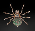 Decorative Accessories, A 14K Gold, Silver, Guilloché Enamel, Sapphire and Diamond-Mounted Spider Brooch in the Manner of Fabergé, late 20th century...
