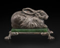 Silver & Vertu, A Silver and Nephrite Rabbit-Form Paperweight in the Manner of Fabergé, late 20th century. 2-1/4 x 3 x 3-5/8 inches (5.7 x 7...