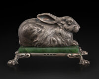 A Silver and Nephrite Rabbit-Form Paperweight in the Manner of Fabergé, late 20th century 2-1/4 x 3 x 3-5/8 inche...