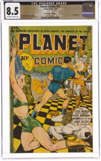 Planet Comics #34 The Promise Collection Pedigree (Fiction House, 1945) CGC VF+ 8.5 Off-white to white pages