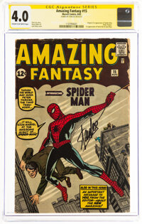 Amazing Fantasy #15 Signature Series: Stan Lee (Marvel, 1962) CGC VG 4.0 Cream to off-white pages