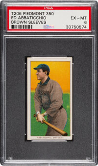 1909-11 T206 Piedmont 350 Ed Abbaticchio (Brown Sleeves) PSA EX-MT 6 - Pop One, None Higher for Brand/Series