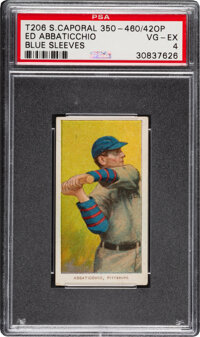 1909-11 T206 Sweet Caporal 350-460/42OP Ed Abbaticchio (Blue Sleeves) PSA VG-EX 4 - Pop Three, One Higher with Factory O...