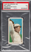 Baseball Cards:Singles (Pre-1930), 1909-11 T206 Sovereign 350 Red Ames (Hands Over Head) PSA VG 3 - Low Confirmed Total Pop. ...