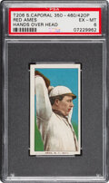 Baseball Cards:Singles (Pre-1930), 1909-11 T206 Sweet Caporal 350-460/42OP Red Ames (Hands Over Head) PSA EX-MT 6 - Pop One, None Higher with Factory 42 Overprin...