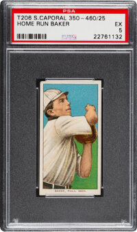 1909-11 T206 Sweet Caporal 350-460/25 Home Run Baker PSA EX 5 - Pop Three, Only One Higher for Brand/Series/Factory