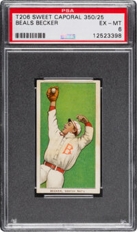 1909-11 T206 Sweet Caporal 350/25 Beals Becker PSA EX-MT 6 - Pop One, None Higher for Brand/Series/Factory