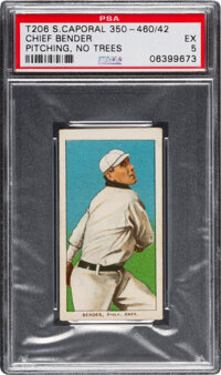 1909-11 T206 Sweet Caporal 350-460/42 Chief Bender (No Trees In Background) PSA EX 5 - Pop One, Only Two Higher with Fac...