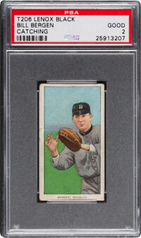 1909-11 T206 Lenox - Black Bill Bergen (Catching) PSA Good 2 - Pop One, Only One Higher for Brand