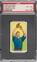 Baseball Cards:Singles (Pre-1930), 1909-11 T206 Old Mill Bob Bescher (Hands In Air) PSA EX-MT 6 - Pop One, Only Three Higher for Brand. ...