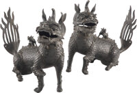A Pair of Chinese Bronze Fu Dogs, 19th century 15-1/2 x 17 x 5-1/4 inches (39.4 x 43.2 x 13.3 cm) (each)