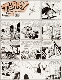 Milton Caniff Terry and the Pirates Sunday Comic Strip Original Art dated 2-27-44 (News Syndicate Co., Inc., 1944)
