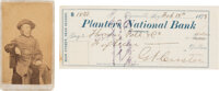 George Armstrong Custer: Signed Check with Carte-de-Visite