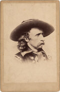 Photography:Cabinet Photos, George Armstrong Custer: Cabinet Card Signed by Libbie Custer. ...