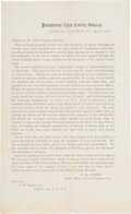 Militaria:Ephemera, George Armstrong Custer: Broadside Printing of Custer's Announcement of the Surrender of General Lee at Appomattox and Farewel...