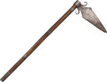 Edged Weapons:Other Edged Weapons, Nez Perce Spontoon Tomahawk, c. 1900. The head, m...