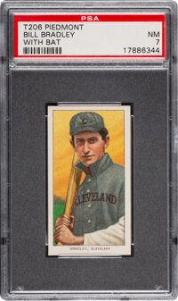 1909-11 T206 Piedmont 350 Bill Bradley (With Bat) PSA NM 7 - Pop One, Only Two Higher for Brand
