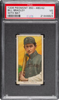Baseball Cards:Singles (Pre-1930), 1909-11 T206 Piedmont 350-460/42 Bill Bradley (With Bat) PSA VG 3 - Pop One, Only One Higher with Factory 42 Back. .....
