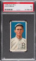 Baseball Cards:Singles (Pre-1930), 1909-11 T206 Old Mill Dave Brain PSA EX 5 - Pop One, Only Two Higher for Brand. ...