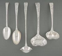 A Group of Five Tiffany & Co. Lap-Over-Edge Pattern Silver Flatware Serving Pieces