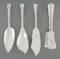 A Group of Four Tiffany & Co. Lap-Over-Edge Pattern Silver Flatware Serving Pieces