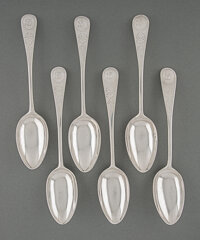Six Paul Revere, Jr. Silver Table Spoons, Boston, circa 1790 Marks to each: REVERE (Kane B) 8-1/2 inches (21.6 cm) (ea...