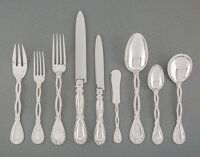 A One Hundred Eight-Piece Puiforcat Royal Pattern Silver Flatware Service for Twelve