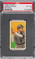Baseball Cards:Singles (Pre-1930), 1909-11 T206 Tolstoi Frank Chance (Batting) PSA VG-EX 4 - Pop Two, Only Three Higher for Brand. ...