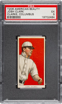 1909-11 T206 American Beauty 350-With Frame Josh Clarke PSA EX 5 - Pop One, None Higher for Brand/Series
